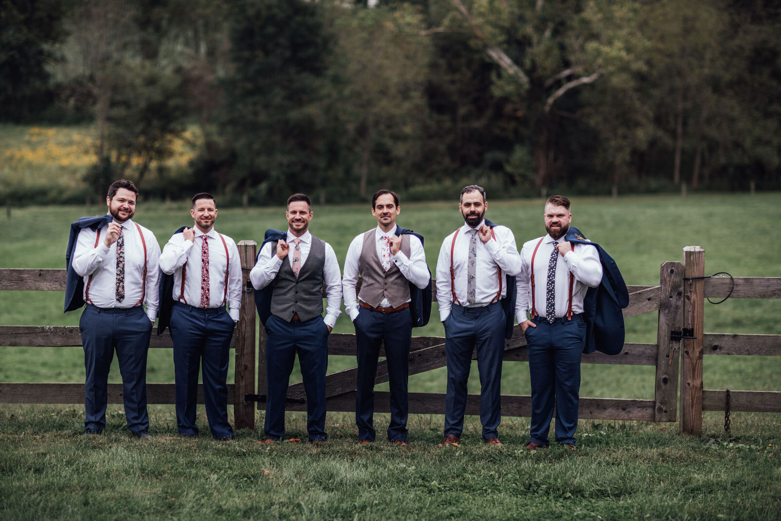 groomsmen portraits durham hill farm weddings