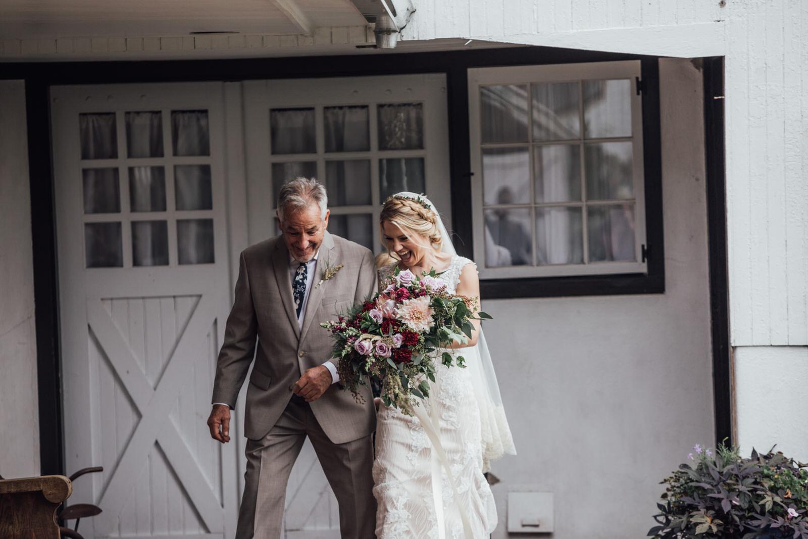 father daughter durham hill farm barn wedding venue